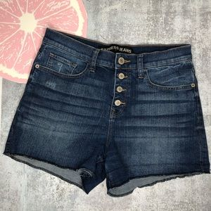 Express jean shorts high rise button fly size 8